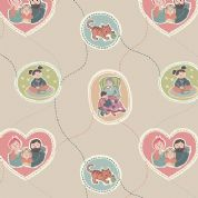 Lewis & Irene Threaded With Love - 5072 - Family Portraits on Beige - A180.1 - Cotton Fabric
